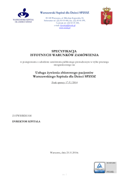 Specyfikacja Istotnych Warunków Zamówienia