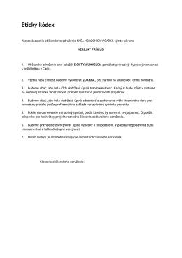 Etický kódex - Naša nemocnica v Čadci, občianské združenie