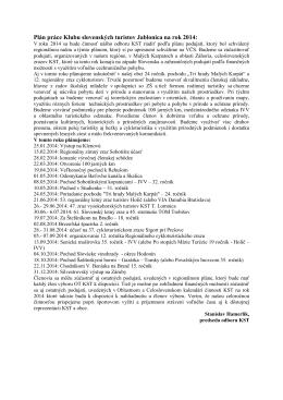 Plán práce Klubu slovenských turistov Jablonica na rok 2014: