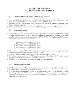 Regulamin promocji doładowań PLAY – Tesco