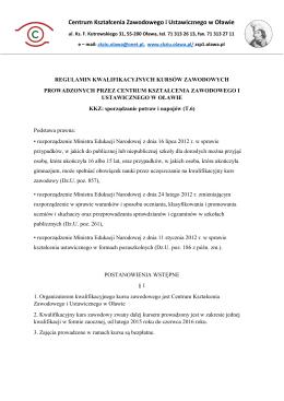 regulamin kkz T.6 - Centrum Kształcenia Zawodowego i