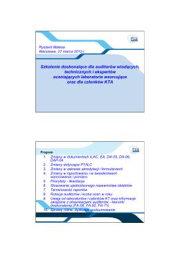 Szkolenie doskonalące dla auditorów wiodących, technicznych i