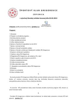 Zápisnica z VČS ŠK Gregorovce