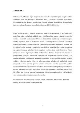 ABSTRAKT - Katedra psychologie Filozofické fakulty UP