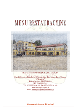 menu restauracja