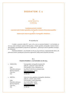 Dodatok č.1 ku Kontraktu 2014 - Výskumný ústav geodézie a