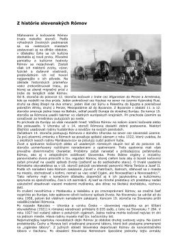 Z histórie slovenských Rómov