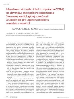 Manažment akútneho infarktu myokardu (STEMI) na Slovensku