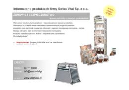 Informator o produktach firmy Swiss Vital Sp. z o.o. ZAMÓW: