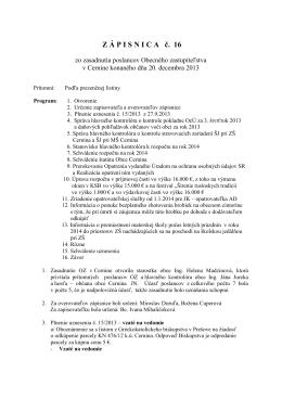 Zápisnica zo zasadnutia Obecného zastupiteľstva č