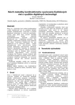 Návrh metodiky konštruktívneho vyučovania Euklidových viet s