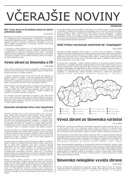 Vývoz zbraní zo Slovenska vzrástol
