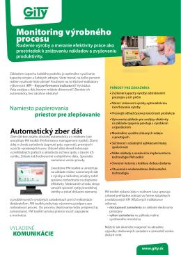 Monitoring vyrobneho procesu