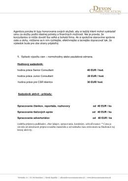 Cenník služieb - Devoncommunication.sk