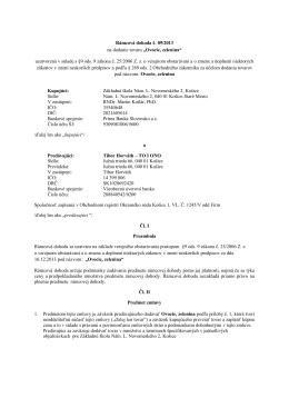 Rámcová dohoda č. 9/2013 Ovocie, zelenina