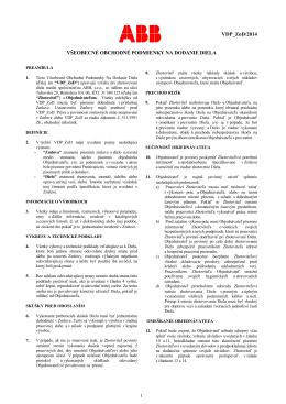 Všeobecné dodacie podmienky pre ZoD slovenská verzia