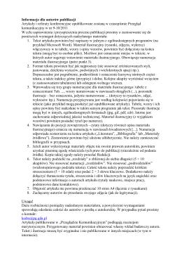 Informacje dla autorów publikacji Artykuły i referaty konferencyjne