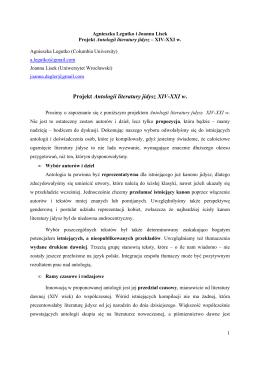 Projekt Antologii literatury jidysz XIV-XXI w .