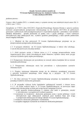 Zasady naboru - ZS nr1 w Toruniu