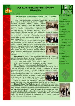 November 2013 - Bulharský kultúrny inštitút