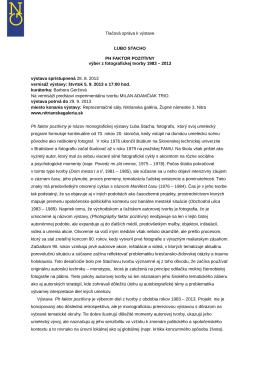 Tlačová správa k výstave ĽUBO STACHO PH
