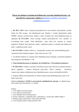 Pokyny pre študentov 2. ročníka bakalárskeho štúdia FEŠRR v