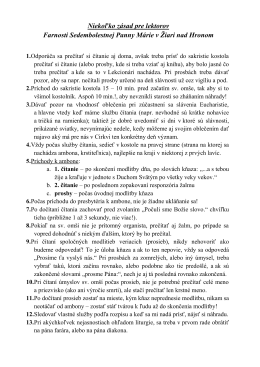 zásady pre lektorov - farnosť Sedembolestnej Panny Márie