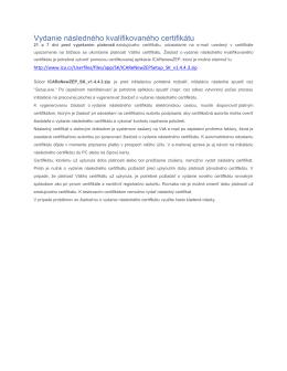 Vydanie následného kvalifikovaného certifikátu