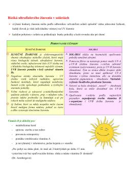 Riziká ultrafialového žiarenia v soláriách