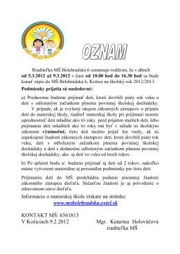 Informácie o materskej škole získate na stránke