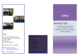 Newsletter č. 1 - 2013