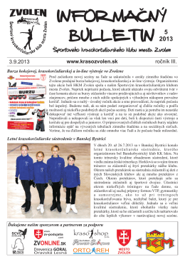 5/2013 - Športový krasokorčuliarsky klub mesta Zvolen