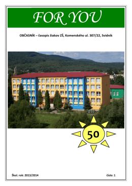 OBČASNÍK – časopis žiakov ZŠ, Komenského ul. 307/22, Svidník
