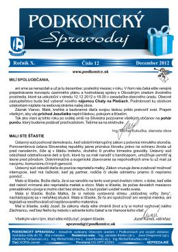 Stiahnite si Spravodaj 12 / 2012 v PDF verzii