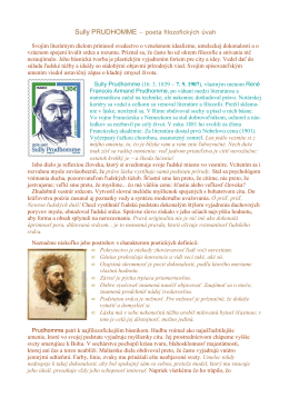 Sully PRUDHOMME − poeta filozofických úvah Svojím