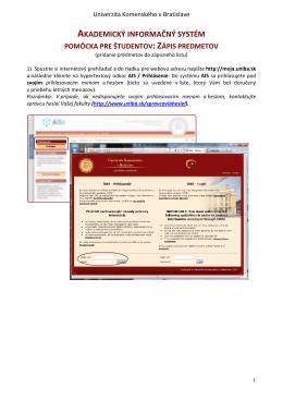 Zápis predmetov - Univerzita Komenského