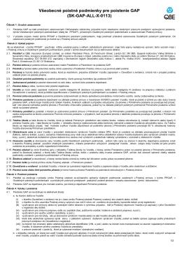 Všeobecné poistné podmienky pre poistenie GAP (SK-GAP-ALL