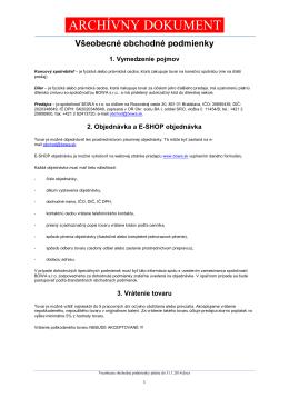 Všeobecné obchodné podmienky platné do 31. januára 2014