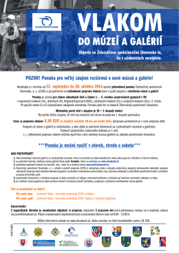 Leták - Vlakom do múzeí a galérií, 23. 09. - 28. 10. 2014