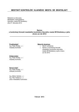 Správa o kontrolnej činnosti za rok 2012