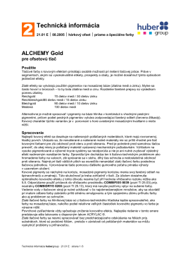 Technická informácia - Alchemy Gold