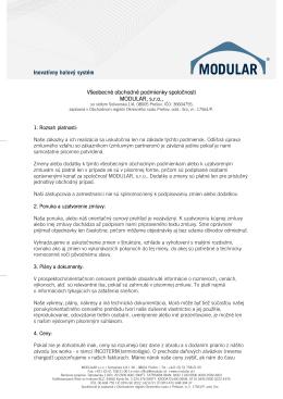 Všeobecné obchodné podmienky spoločnosti MODULAR, s.r.o.,