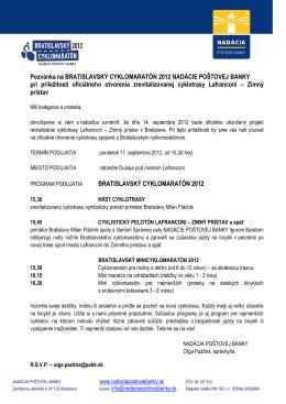 Pozvánka na BRATISLAVSKÝ CYKLOMARATÓN 2012 NADÁCIE