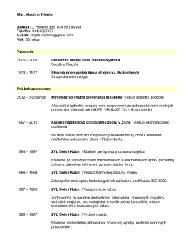 CV Vladimir Klopta - Mgr. Vladimír Klopta