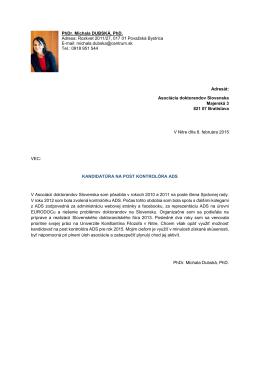 PhDr. Michala DUBSKÁ, PhD. Adresa: Rozkvet 2011/27, 017 01