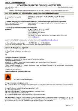 Karta Charakterystyki według normy (WE) nr 1907/2006