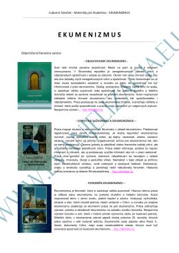 Materiály pre študentov z predmetu EKUMENIZMUS