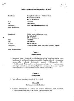 Zmluva na komisionálny predaj č. 1/2012