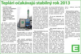 Teplári očakávajú stabilný rok 2013