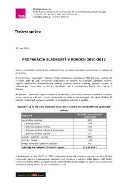 PROPAGÁCIA SLADKOSTÍ V ROKOCH 2010-2012 Tlačová